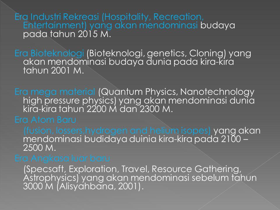 Era Industri Rekreasi (Hospitality, Recreation, Entertainment) yang akan mendominasi budaya pada tahun 2015 M.