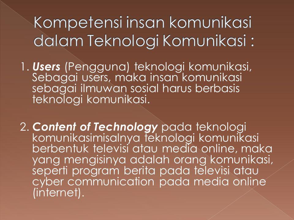 Kompetensi insan komunikasi dalam Teknologi Komunikasi :