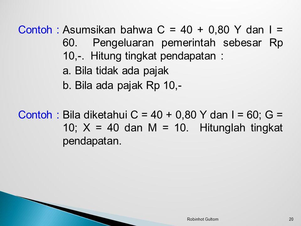 Contoh : Asumsikan bahwa C = 40 + 0,80 Y dan I = 60