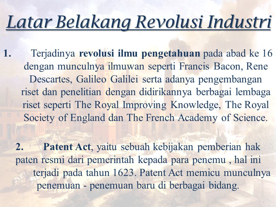Latar Belakang Revolusi Industri