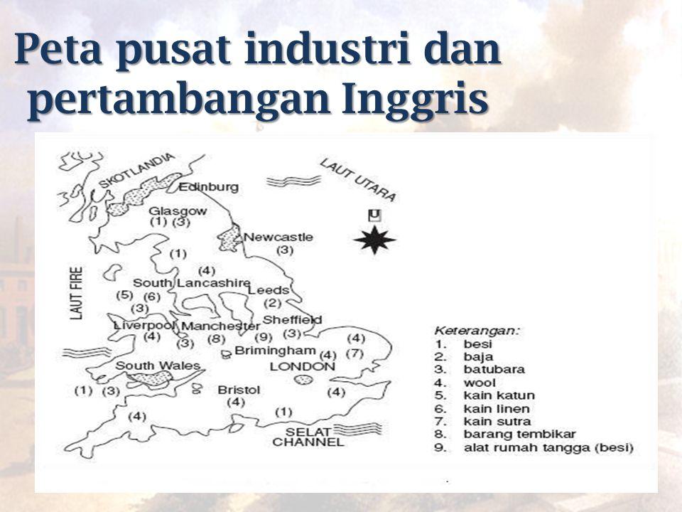 Peta pusat industri dan pertambangan Inggris