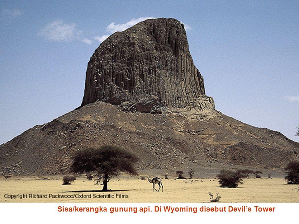 Sisa/kerangka gunung api. Di Wyoming disebut Devil's Tower