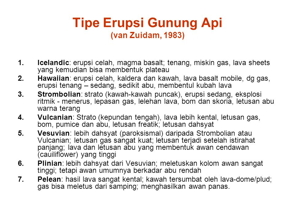 Tipe Erupsi Gunung Api (van Zuidam, 1983)