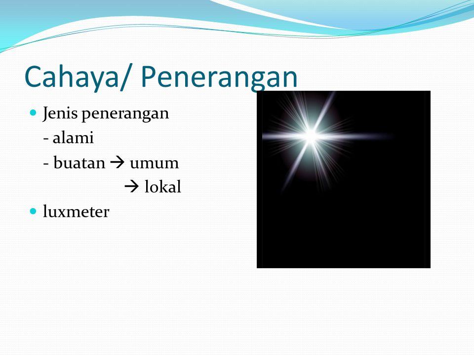 Cahaya/ Penerangan Jenis penerangan - alami - buatan  umum  lokal
