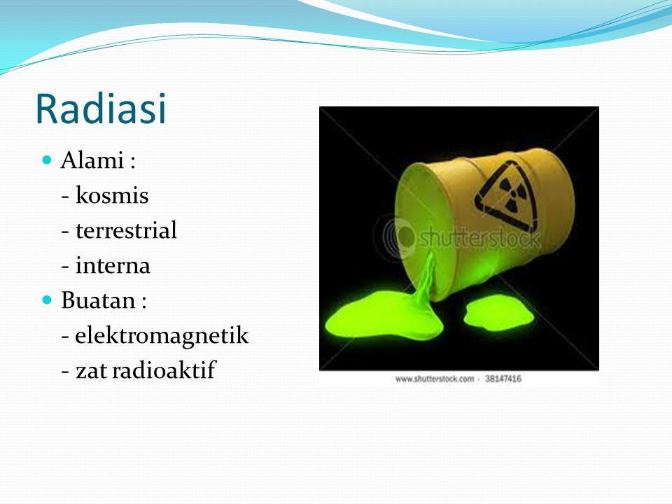 Radiasi Alami : - kosmis - terrestrial - interna Buatan :