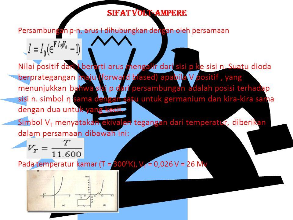 SIFAT VOLT-AMPERE Persambungan p-n, arus I dihubungkan dengan oleh persamaan.