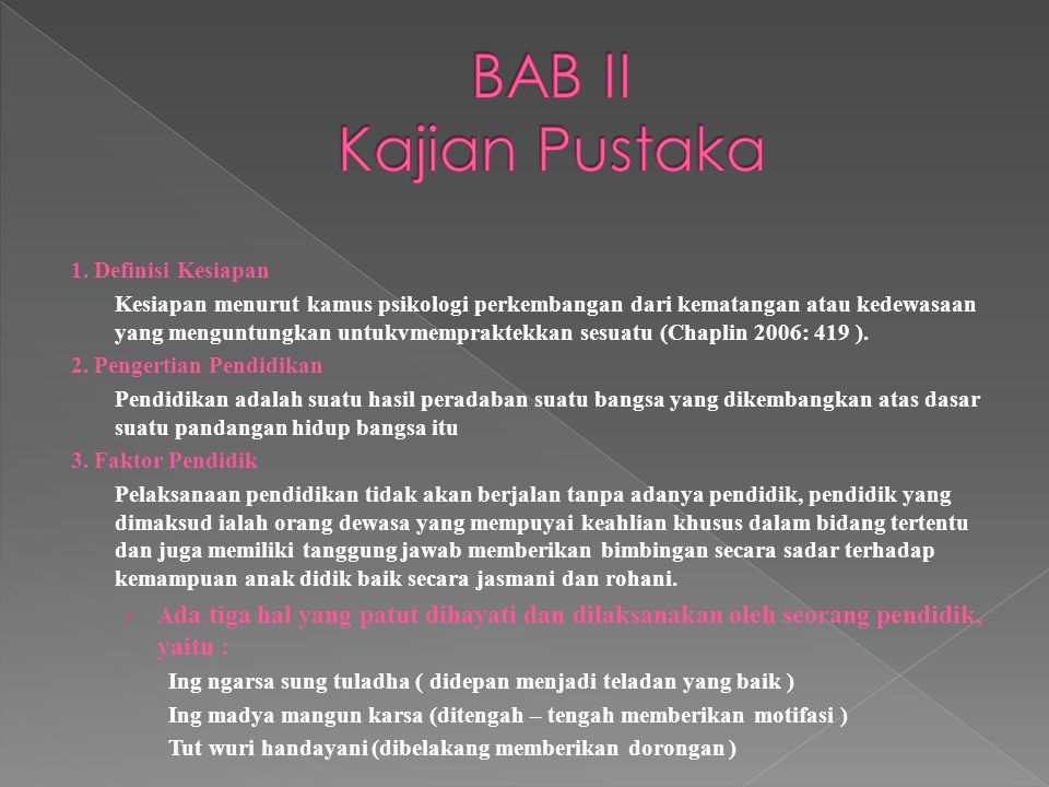BAB II Kajian Pustaka 1. Definisi Kesiapan