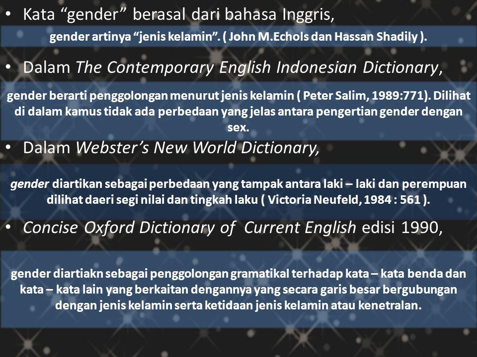 gender artinya jenis kelamin . ( John M.Echols dan Hassan Shadily ).