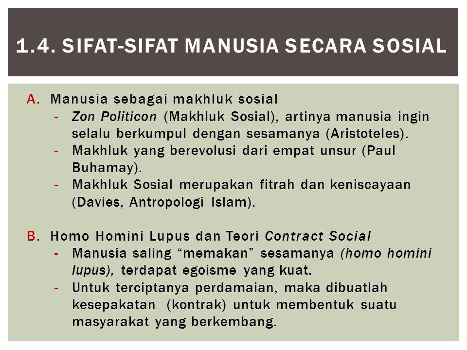 1.4. SIFAT-SIFAT MANUSIA SECARA SOSIAL