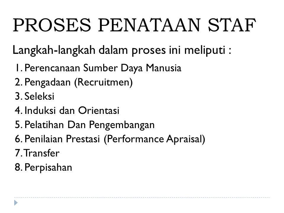 PROSES PENATAAN STAF Langkah-langkah dalam proses ini meliputi :