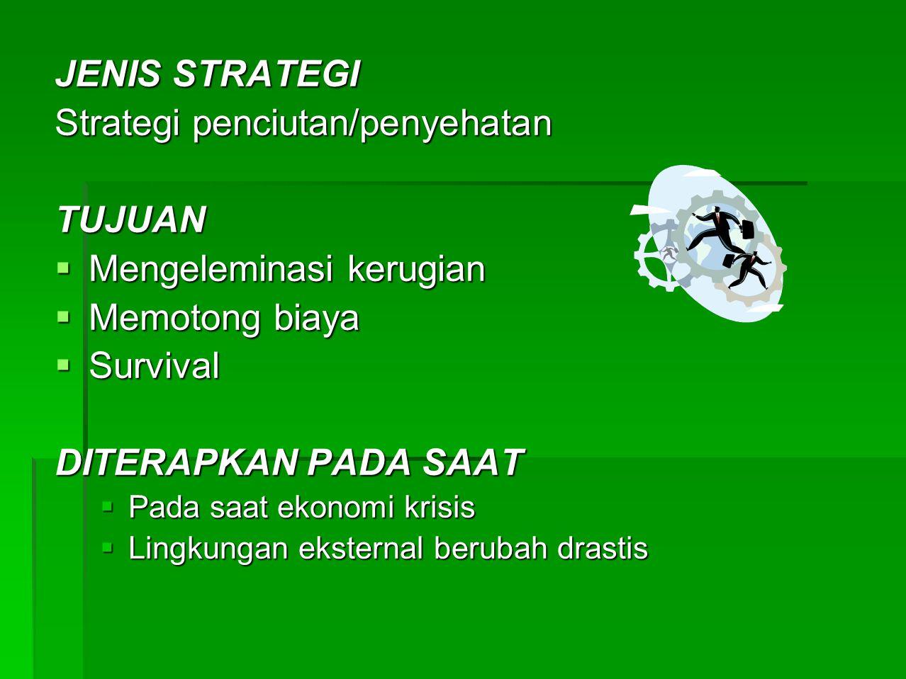 Strategi penciutan/penyehatan TUJUAN Mengeleminasi kerugian
