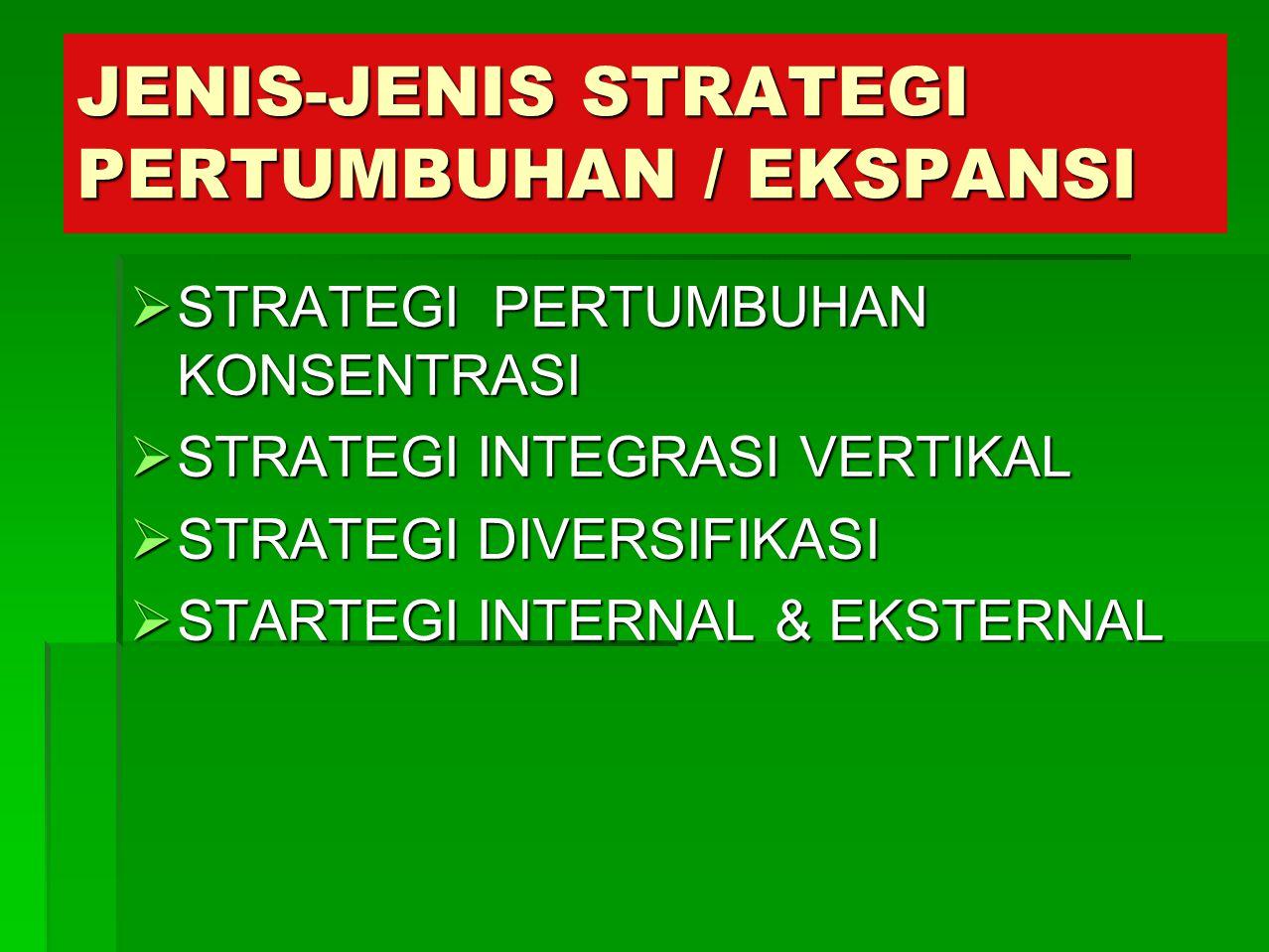 JENIS-JENIS STRATEGI PERTUMBUHAN / EKSPANSI