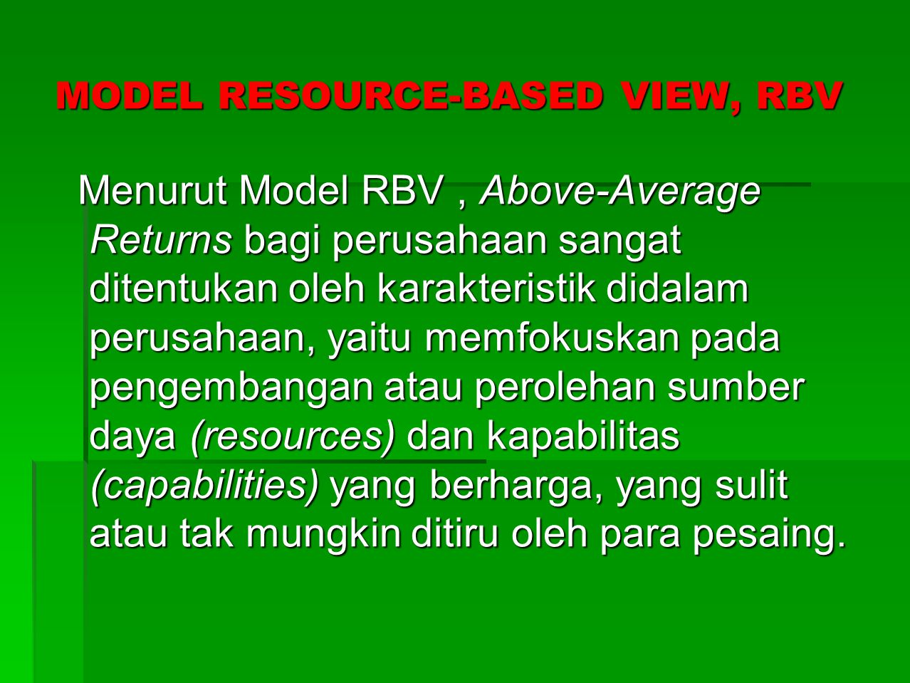 MODEL RESOURCE-BASED VIEW, RBV