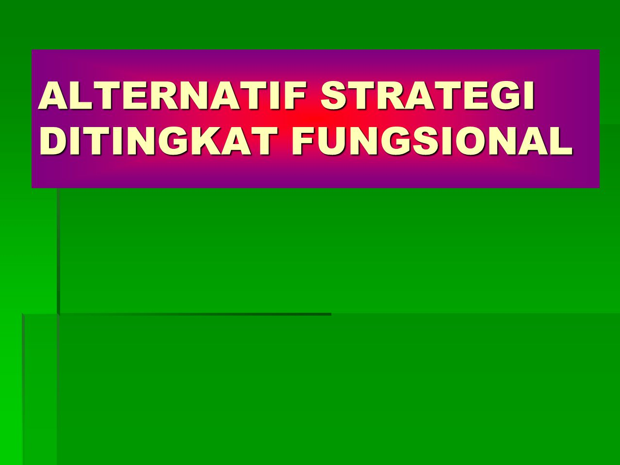 ALTERNATIF STRATEGI DITINGKAT FUNGSIONAL