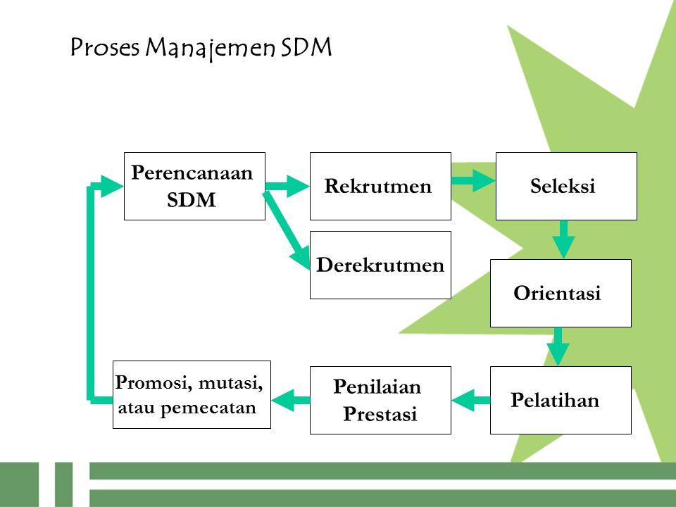 Proses Manajemen SDM Perencanaan SDM Rekrutmen Pelatihan Seleksi