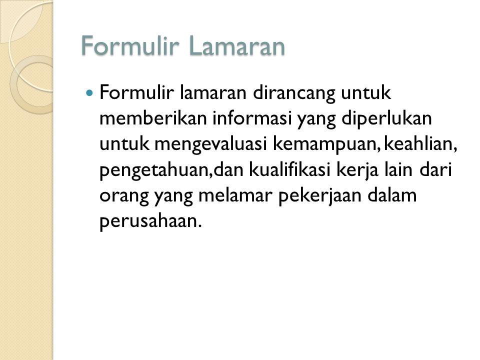 Formulir Lamaran