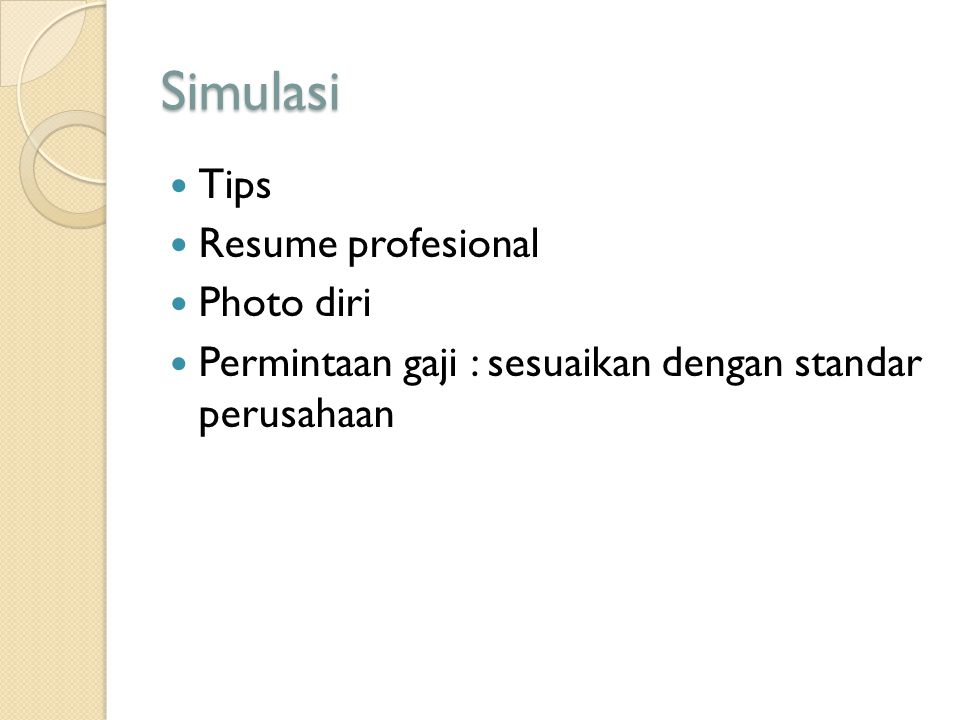 Simulasi Tips Resume profesional Photo diri