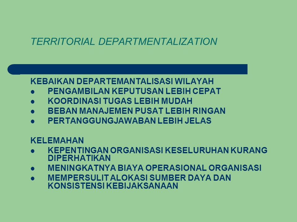 TERRITORIAL DEPARTMENTALIZATION