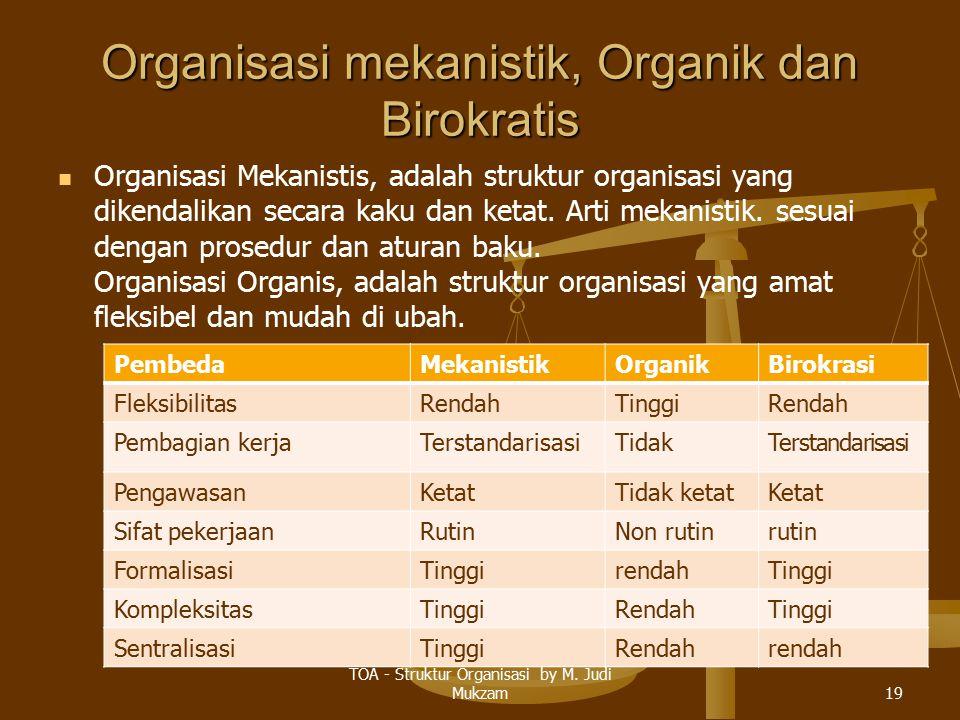 Organisasi mekanistik, Organik dan Birokratis
