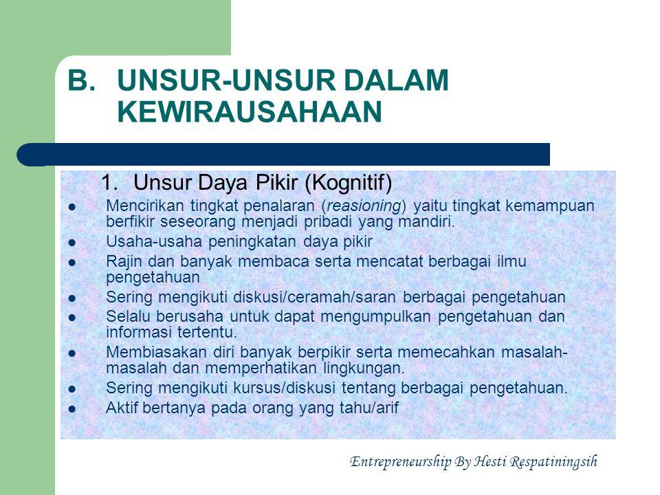 B. UNSUR-UNSUR DALAM KEWIRAUSAHAAN