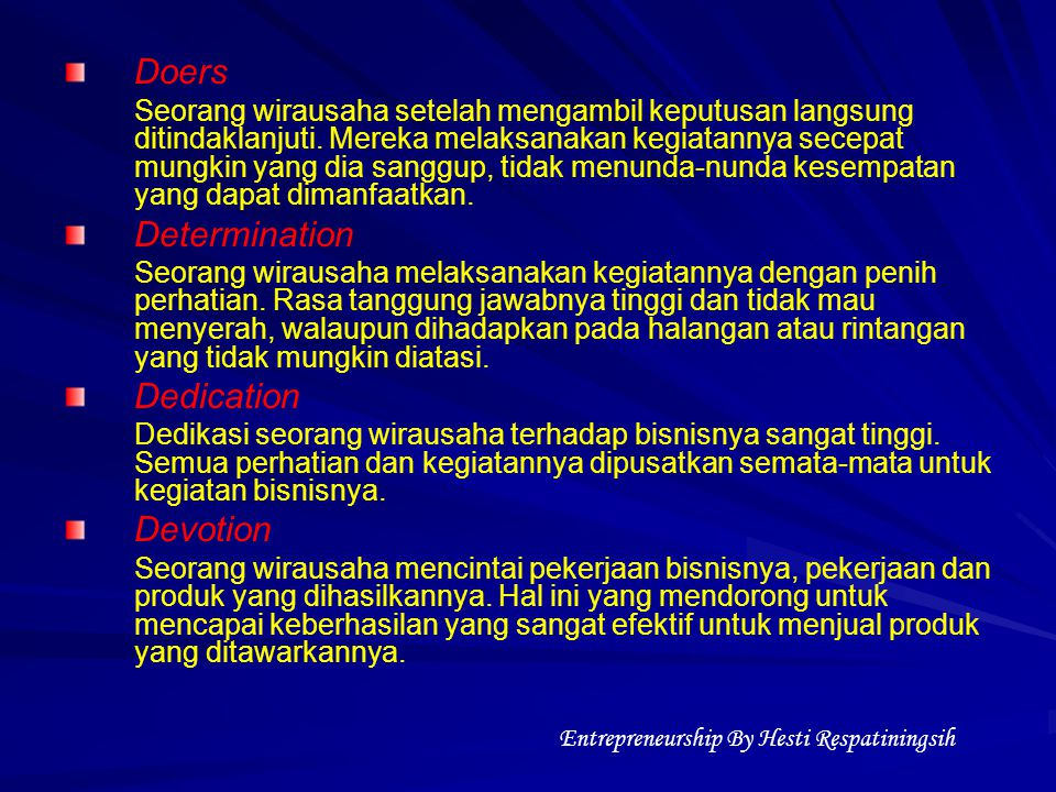Entrepreneurship By Hesti Respatiningsih