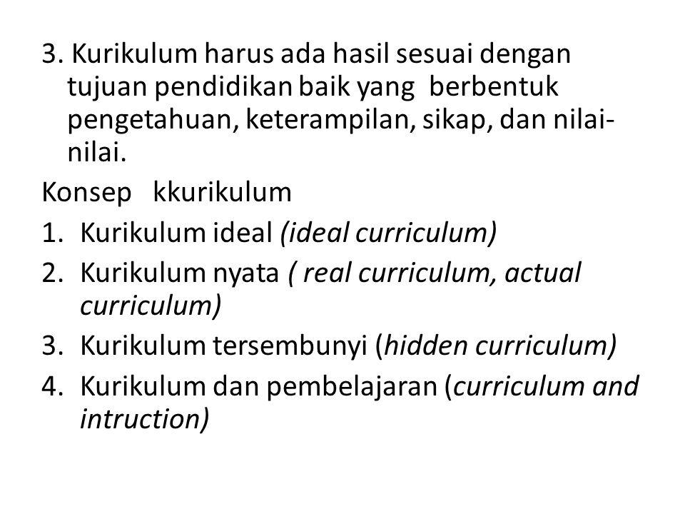 3. Kurikulum harus ada hasil sesuai dengan tujuan pendidikan baik yang berbentuk pengetahuan, keterampilan, sikap, dan nilai-nilai.