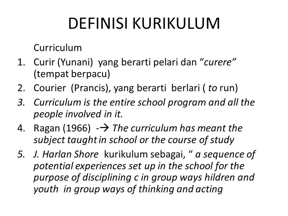 DEFINISI KURIKULUM Curriculum