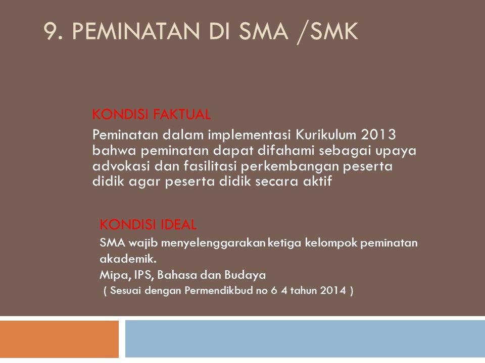 9. Peminatan di SMA /SMK KONDISI FAKTUAL