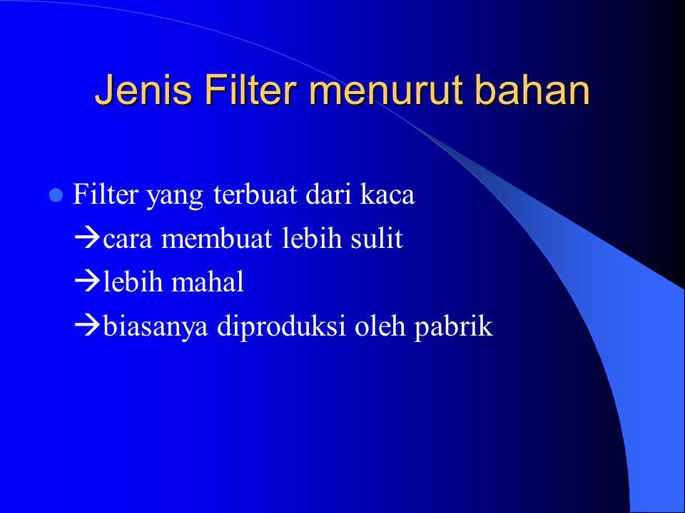 Jenis Filter menurut bahan