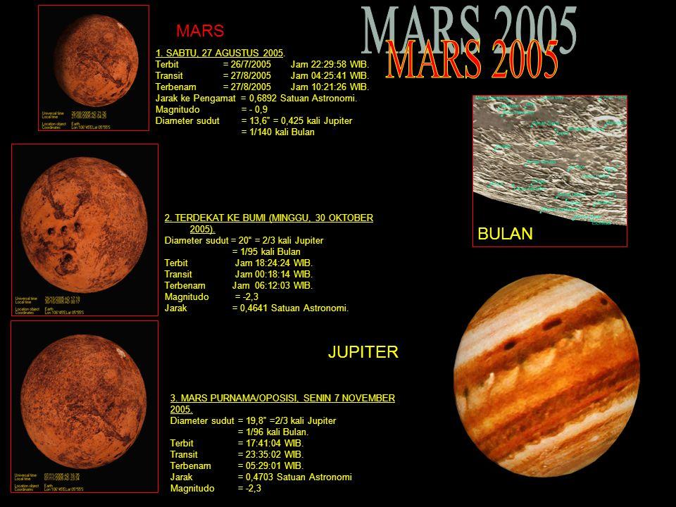 MARS 2005 MARS BULAN JUPITER 1. SABTU, 27 AGUSTUS 2005.