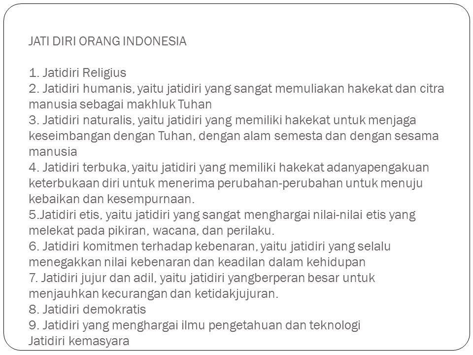 JATI DIRI ORANG INDONESIA 1. Jatidiri Religius 2