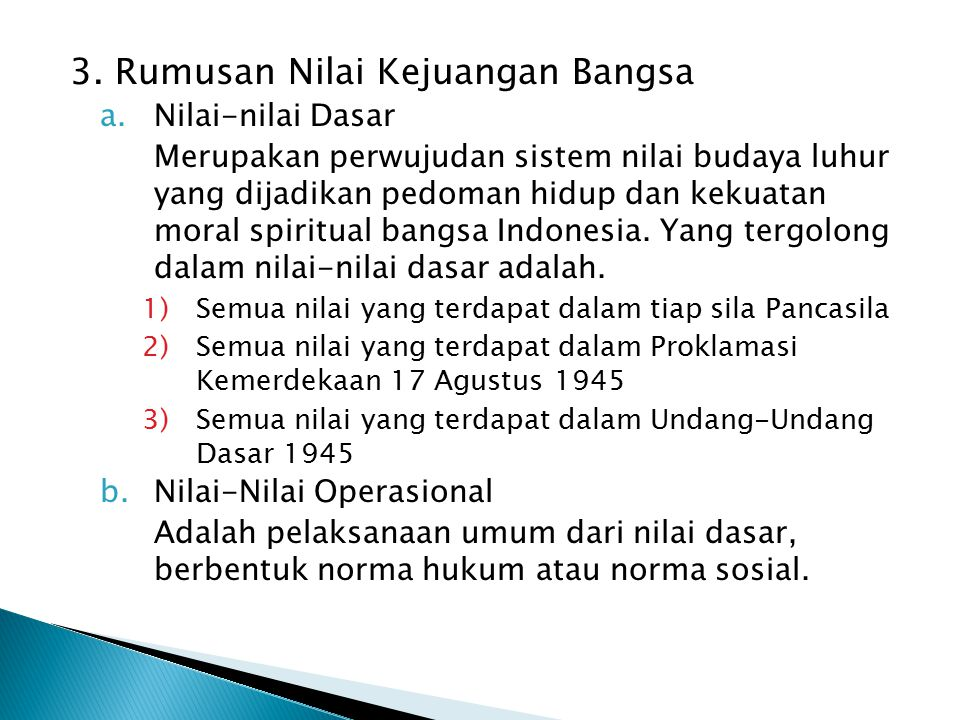 3. Rumusan Nilai Kejuangan Bangsa