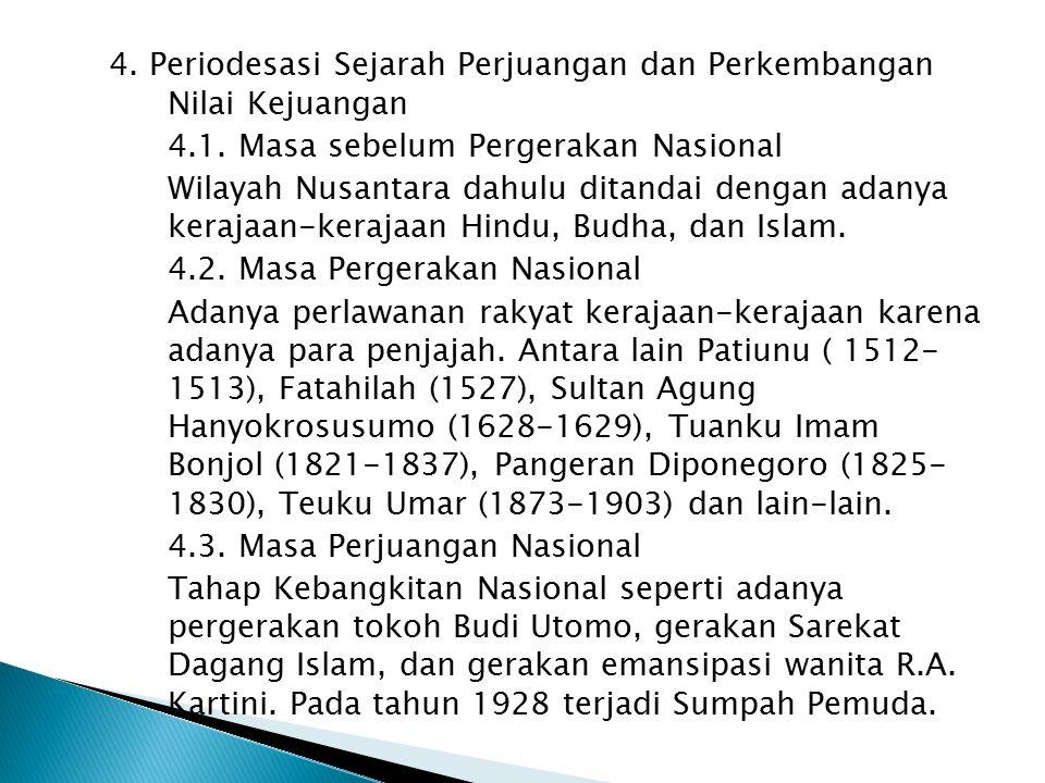 4. Periodesasi Sejarah Perjuangan dan Perkembangan Nilai Kejuangan 4.1.