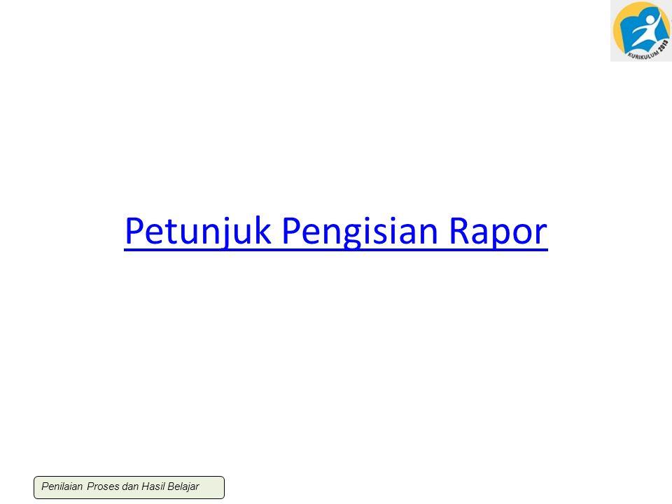 Petunjuk Pengisian Rapor