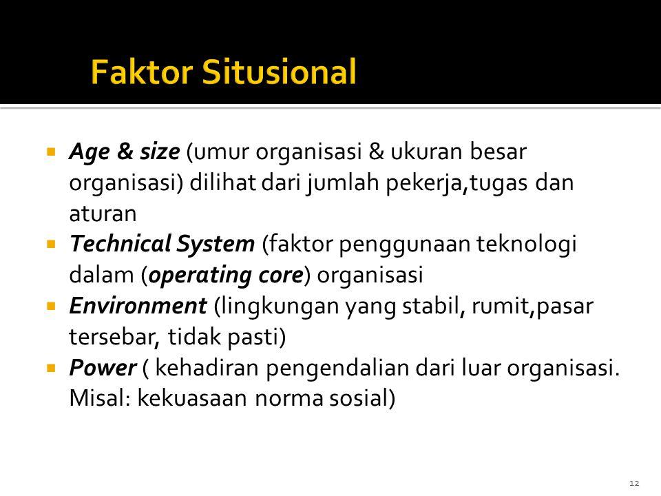 Faktor Situsional Age & size (umur organisasi & ukuran besar organisasi) dilihat dari jumlah pekerja,tugas dan aturan.
