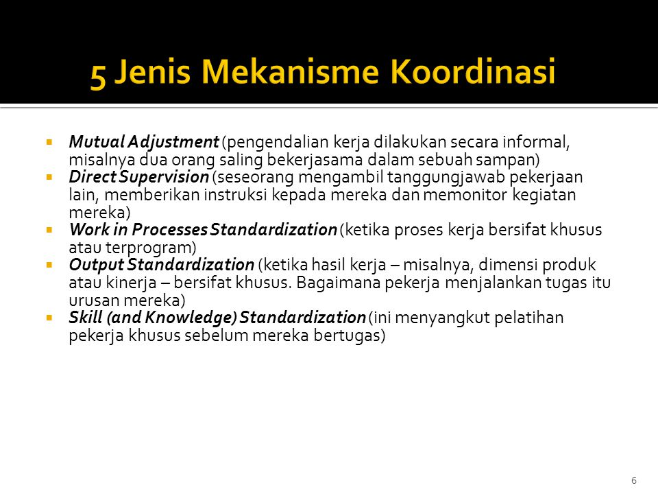 5 Jenis Mekanisme Koordinasi