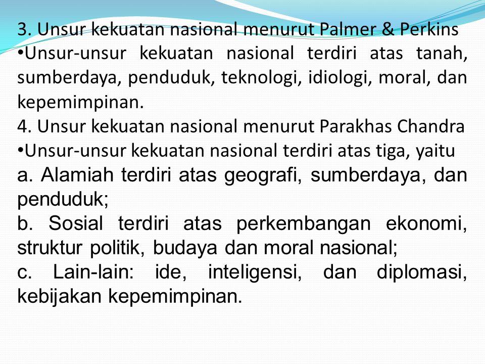 3. Unsur kekuatan nasional menurut Palmer & Perkins
