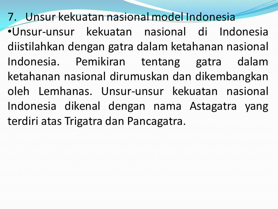 7. Unsur kekuatan nasional model Indonesia