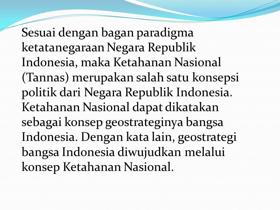 Sesuai dengan bagan paradigma ketatanegaraan Negara Republik Indonesia, maka Ketahanan Nasional (Tannas) merupakan salah satu konsepsi politik dari Negara Republik Indonesia.