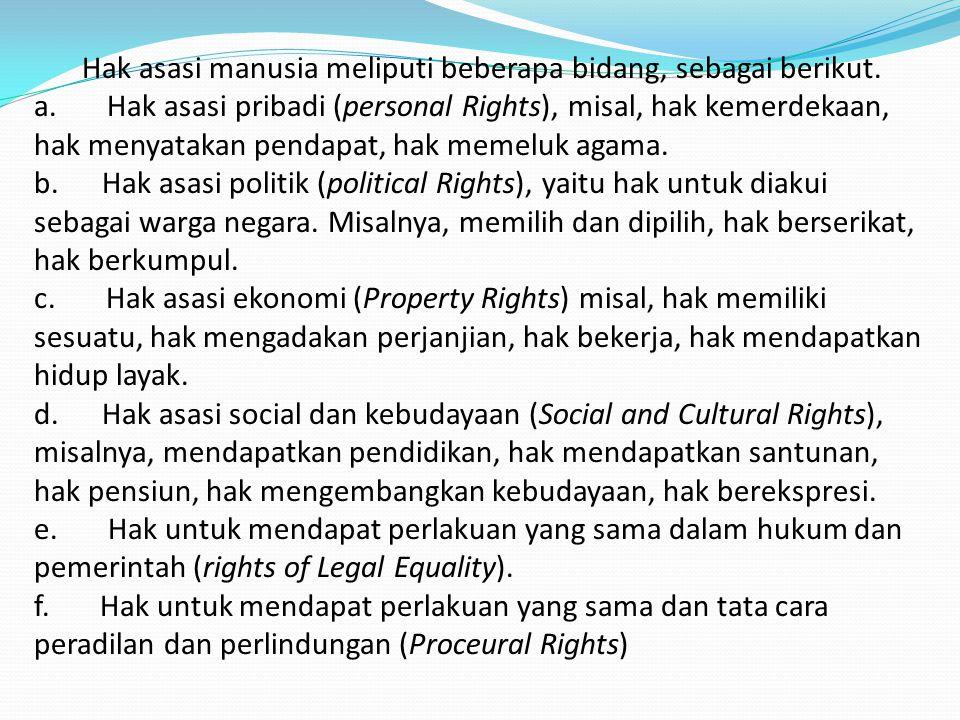Hak asasi manusia meliputi beberapa bidang, sebagai berikut.