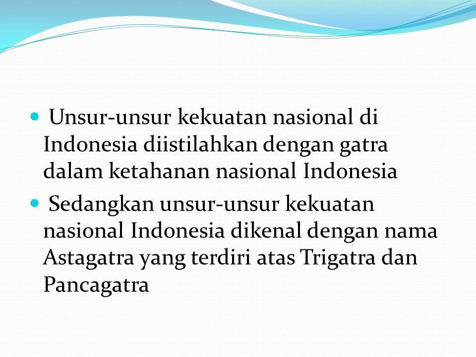 Unsur-unsur kekuatan nasional di Indonesia diistilahkan dengan gatra dalam ketahanan nasional Indonesia