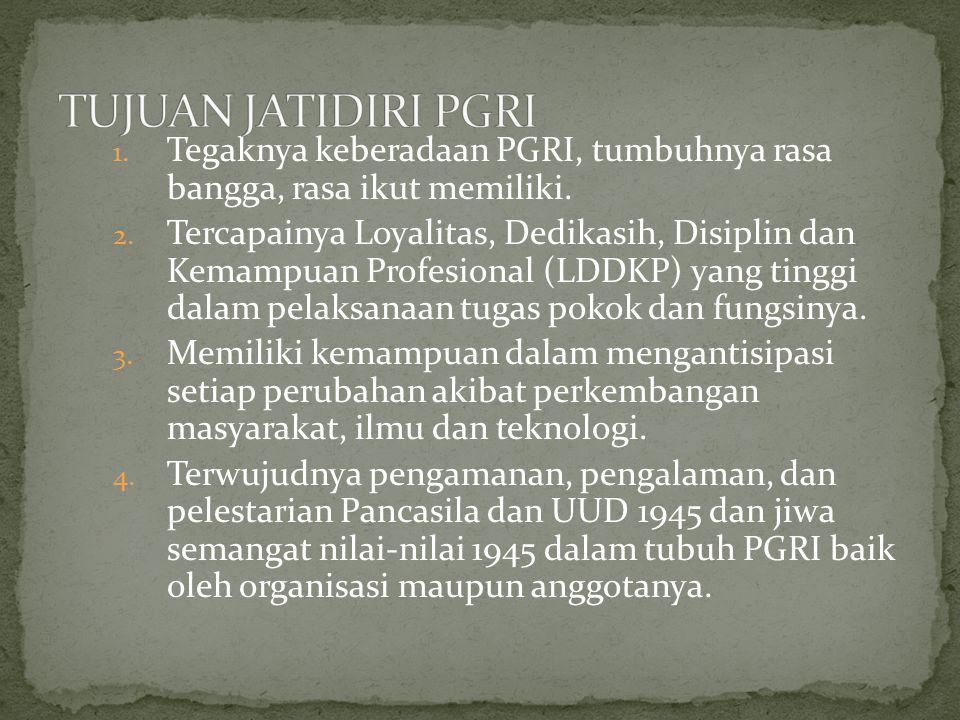 TUJUAN JATIDIRI PGRI Tegaknya keberadaan PGRI, tumbuhnya rasa bangga, rasa ikut memiliki.