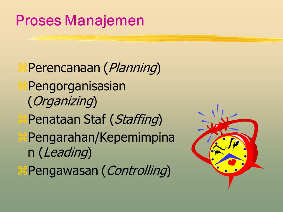 Proses Manajemen Perencanaan (Planning) Pengorganisasian (Organizing)