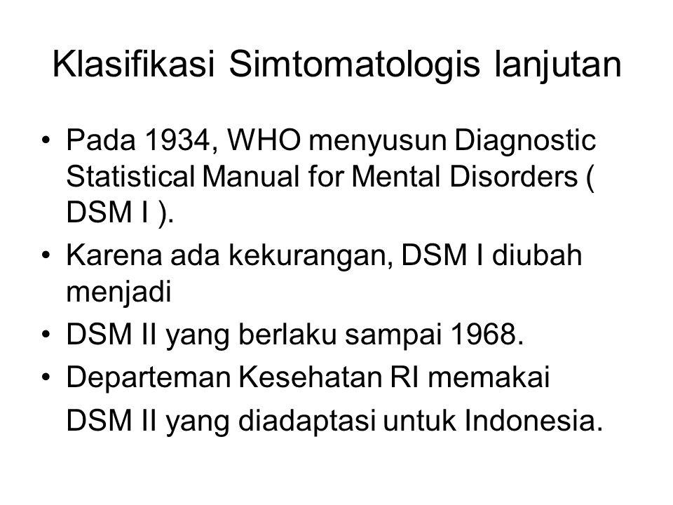 Klasifikasi Simtomatologis lanjutan