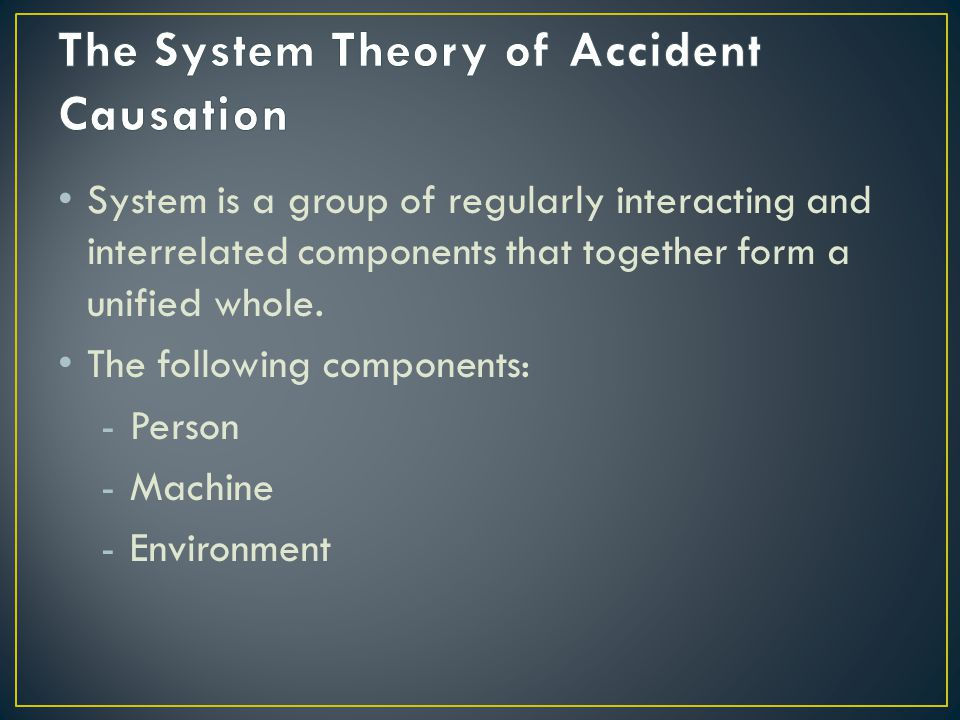 The System Theory of Accident Causation