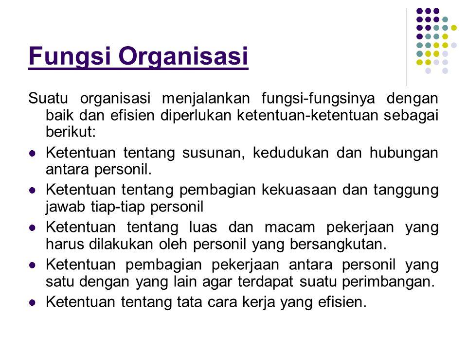 Fungsi Organisasi Suatu organisasi menjalankan fungsi-fungsinya dengan baik dan efisien diperlukan ketentuan-ketentuan sebagai berikut: