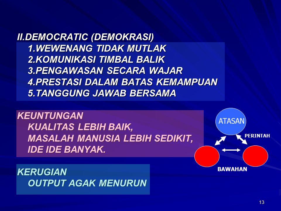 II.DEMOCRATIC (DEMOKRASI) 1.WEWENANG TIDAK MUTLAK