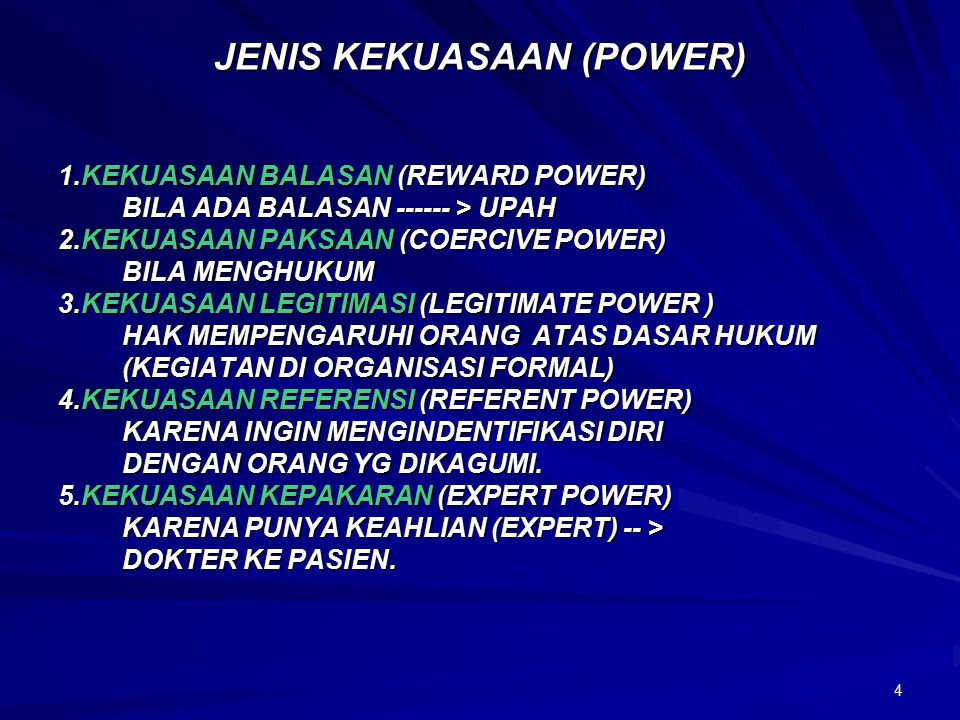 JENIS KEKUASAAN (POWER)