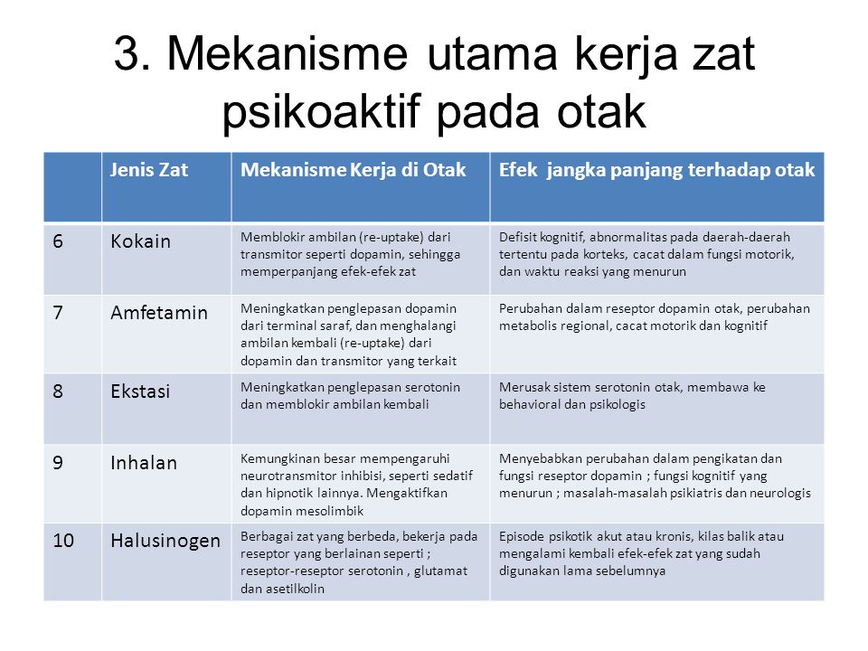 3. Mekanisme utama kerja zat psikoaktif pada otak