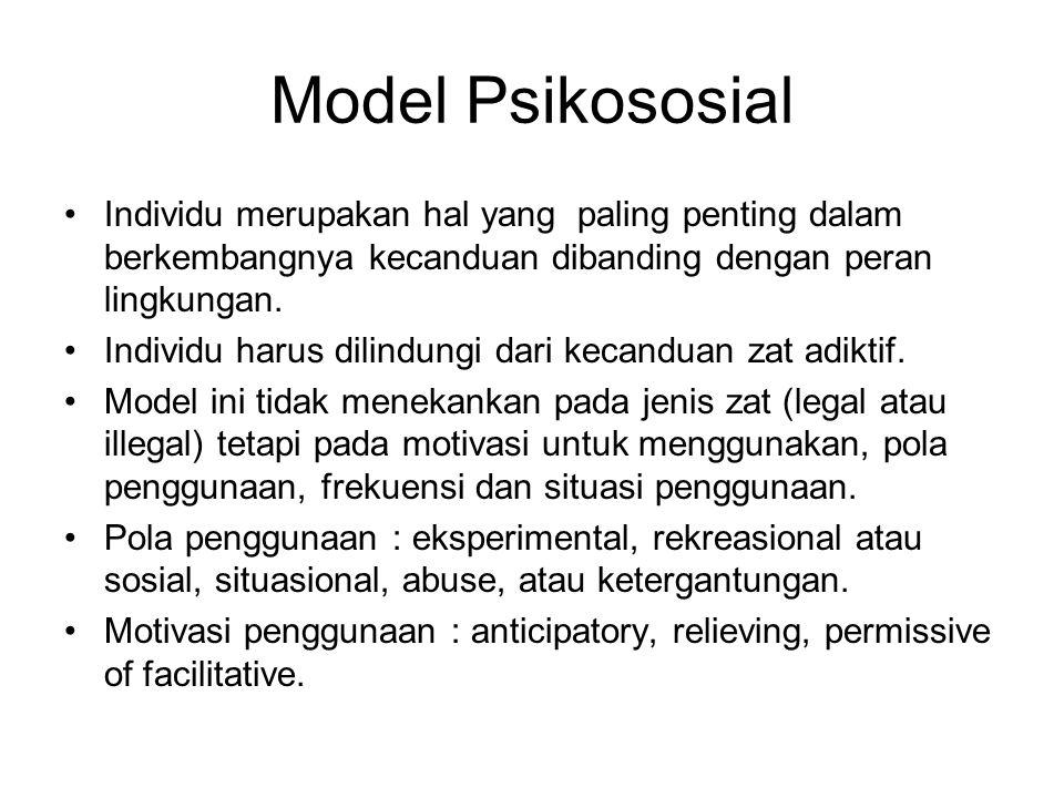 Model Psikososial Individu merupakan hal yang paling penting dalam berkembangnya kecanduan dibanding dengan peran lingkungan.